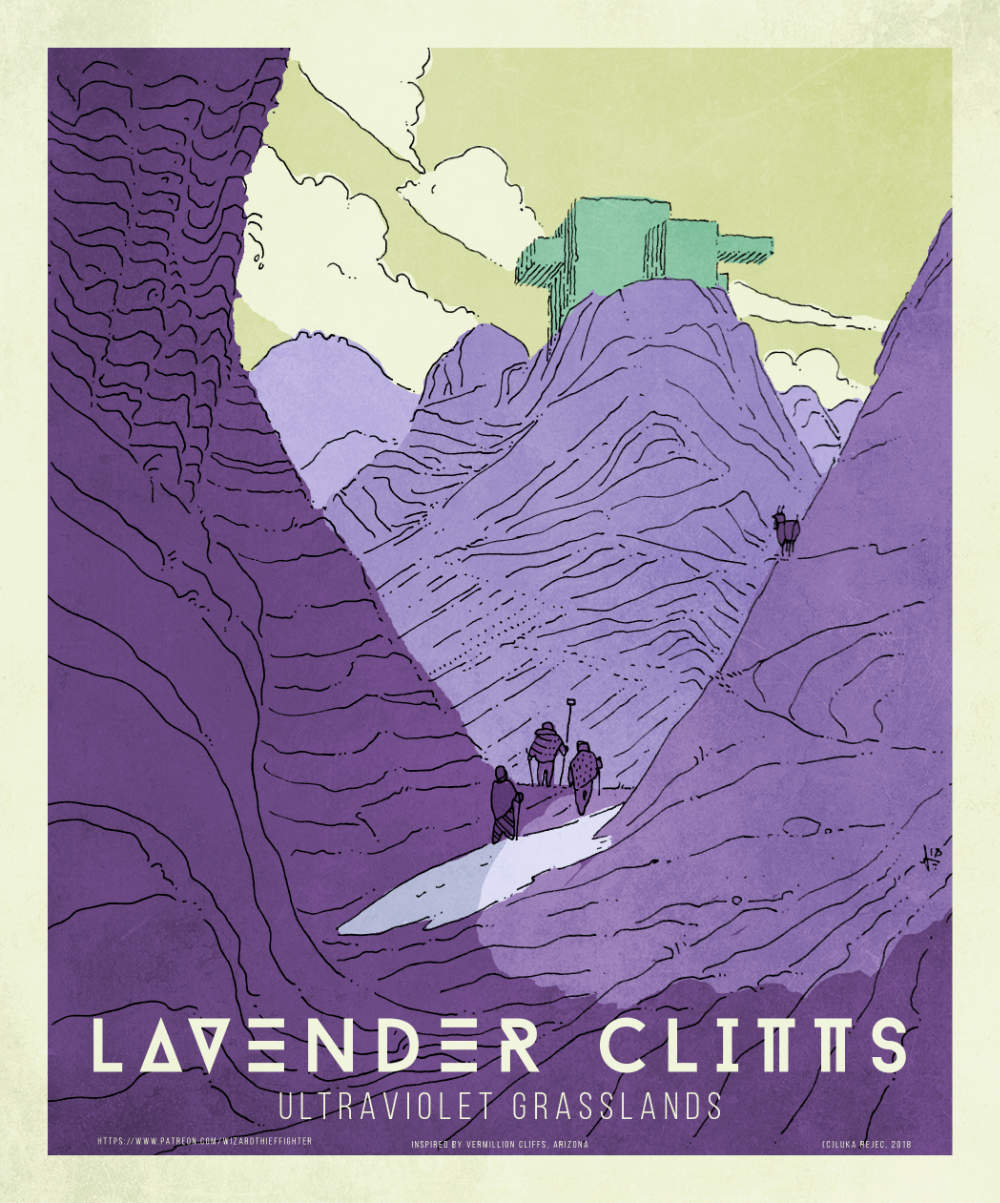 Poster promoting the Lavender Cliffs, a location that does not exist