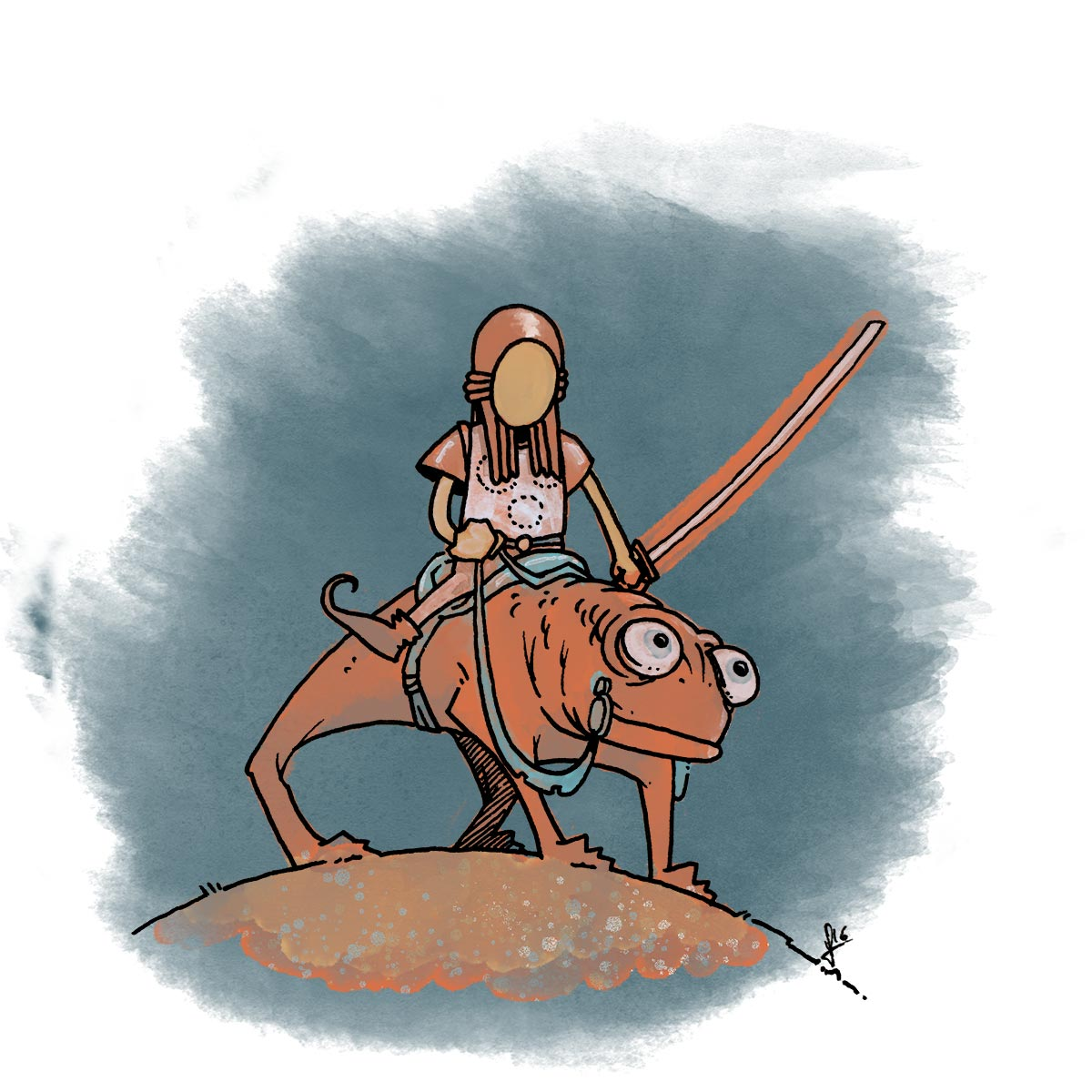 who is this noble chameleon rider?