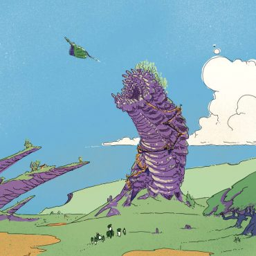 Purple Worm and Dragon in the Field